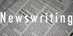 "newspaper background with the word ""newswriting"" on top"