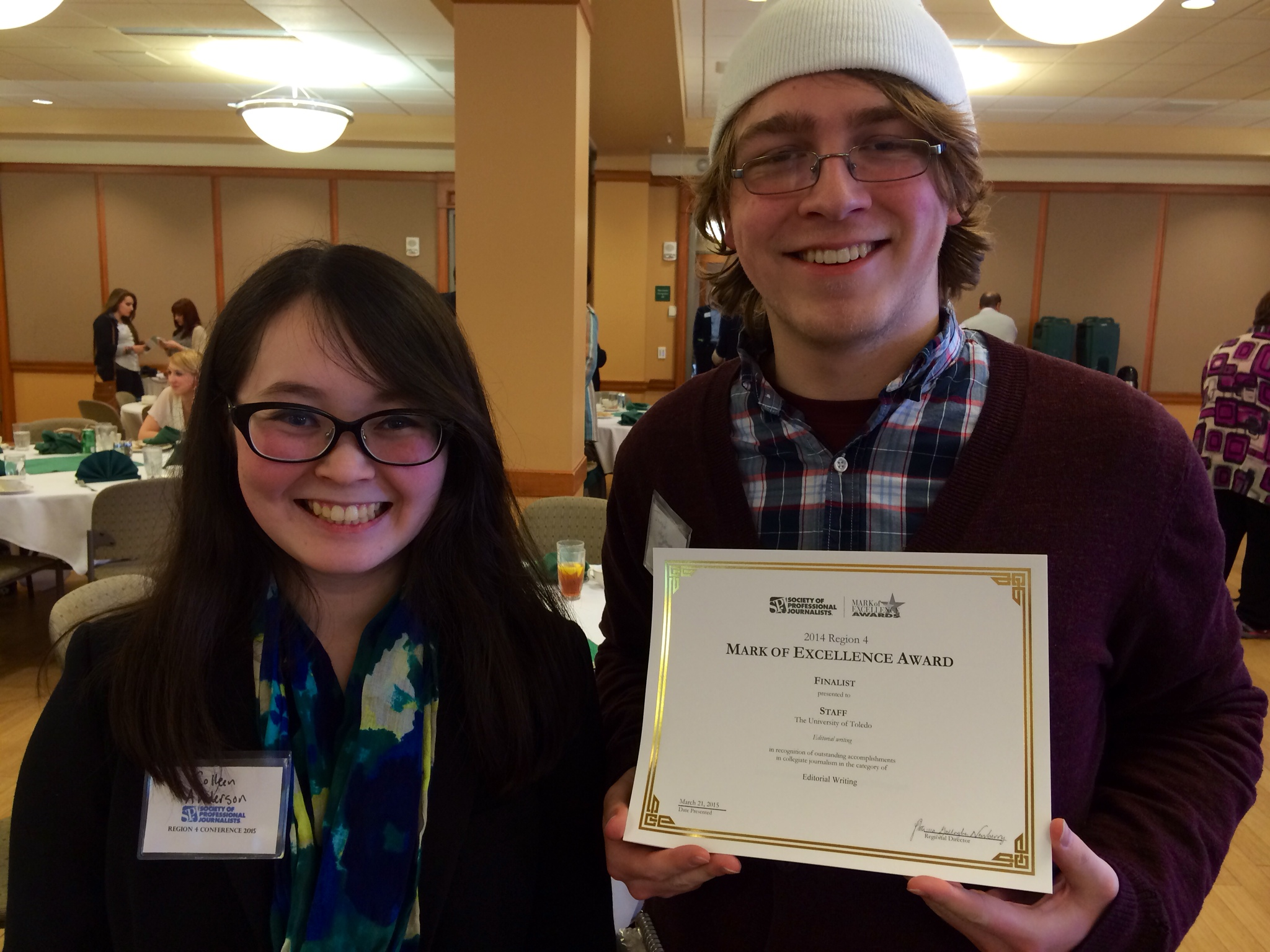 Colleen Anderson and Jared Hightower attended the SPJ Convention in Athens, OH. The Independent Collegian and UT:10 News were both honored at the ceremony.