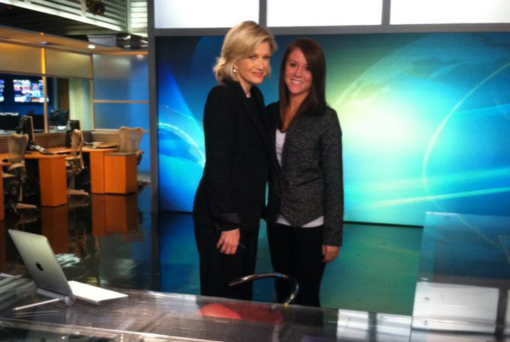 Alumna Alysha Wilkins with news anchor Diane Sawyer.