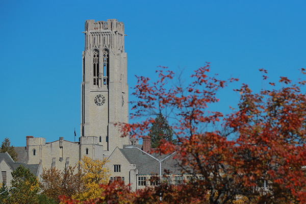 University Hall during the fall