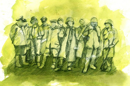 Art illustration of soldiers standing
