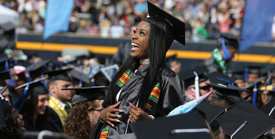 Photo of young woman during graduation ceremonies