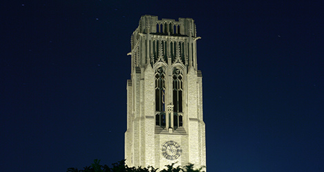 University Hall Tower at Night