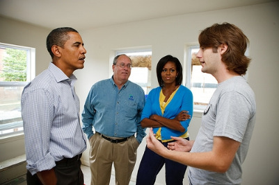 UToledo Lawa and Social Thought graduate Logan Sheehan meeting with Barak and Michelle Obama