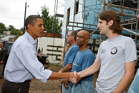 UToledo Lawa and Social Thought graduate Logan Sheehan shaking hands with President Barak Obama