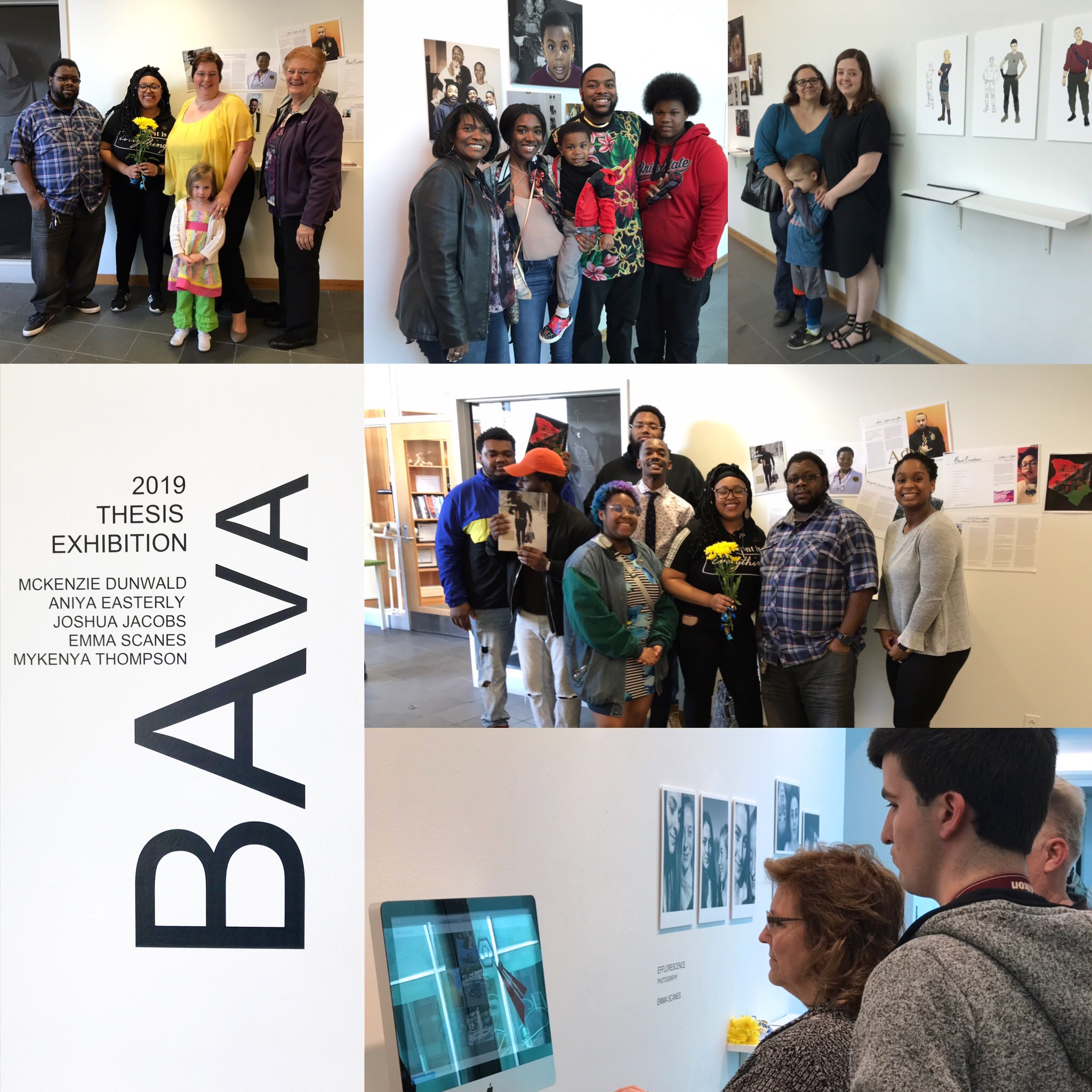 Collage of BAVA student s and families at exhibition.