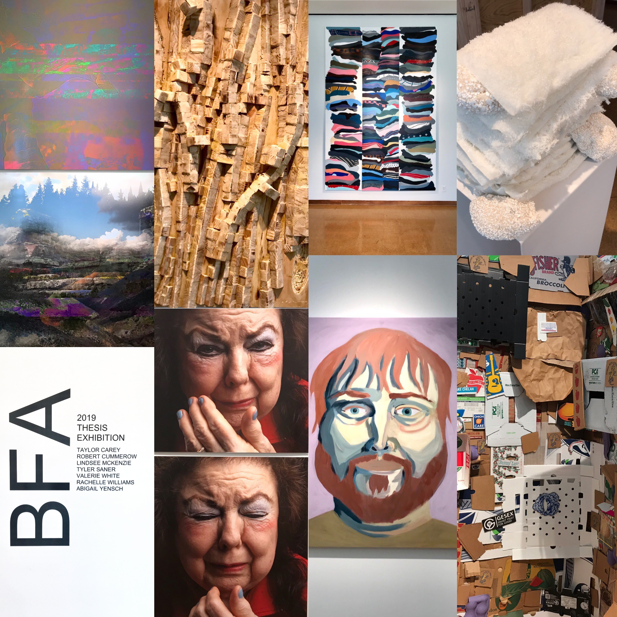 collage of BFA student art works