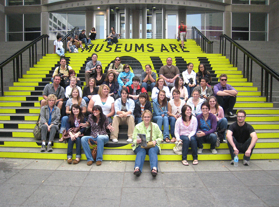 Students on the steps at Chicago MCA