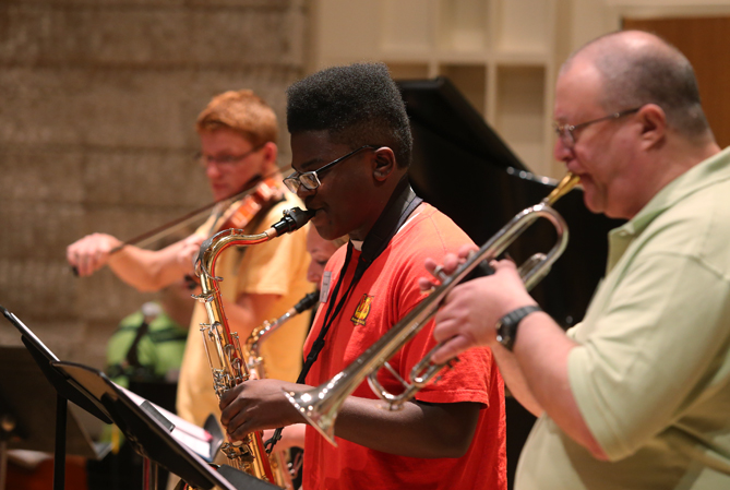 UT Summer Jazz Institute students rehearse in the Recital Hall