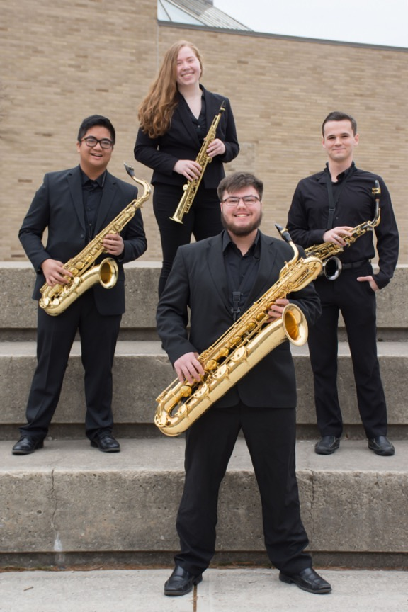 Photo of the 2019 Saxophone Ensemble, the Swingline Quartet at the University of Toledo