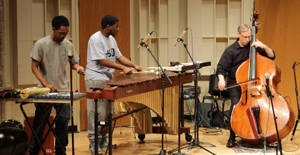 Percussion students playing with Zen Arts Ensemble