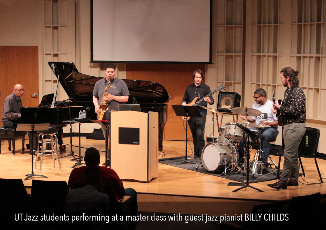 UT Jazz students perform at a master class with guest jazz pianist, Billy Childs