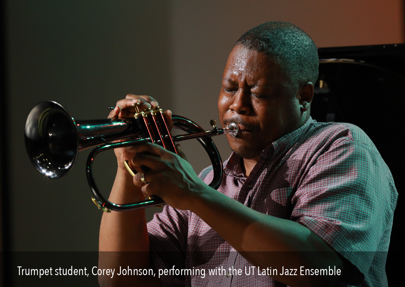 Trumpet student Corey Johnson perforing with the UT Latin Jazz Ensemble