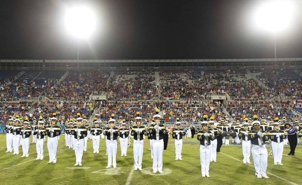 UT Marching band on field