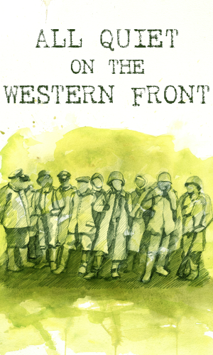 Graphic image from the poster for the UT Production of All Quiet on the Western Front