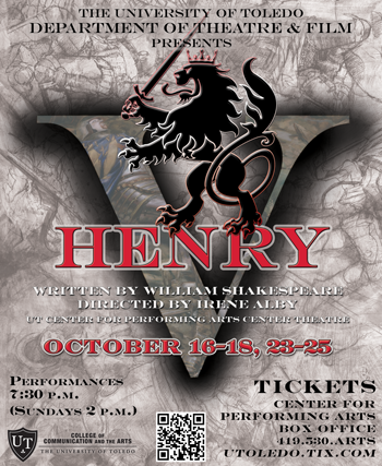 UT Department of Theatre and Film presents Shakespeare's HENRY V, October 16-25, 2015