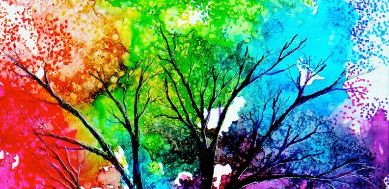 artistic, colorful trees