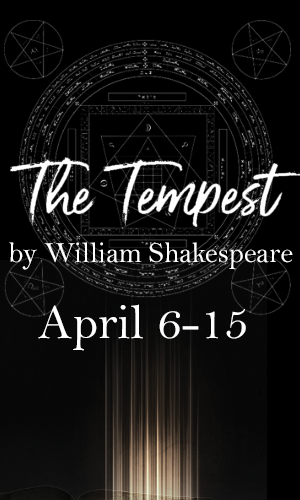 Graphic image of the production poster for The tempest