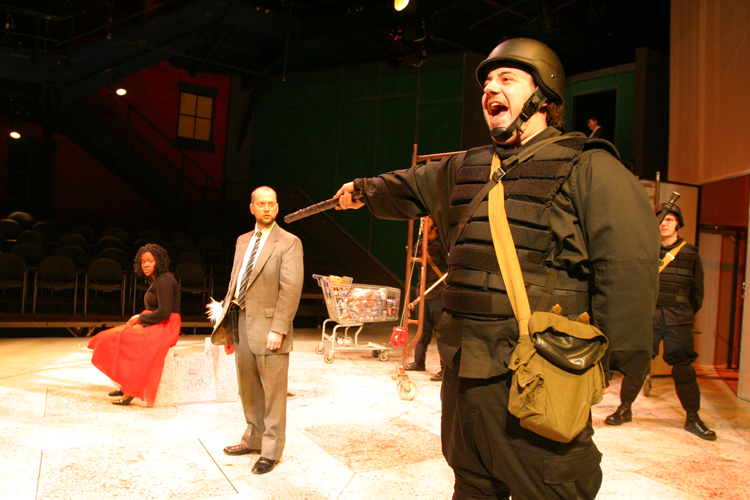 Brian Hillard, Pete Cross and Jessica Kight in Antigone