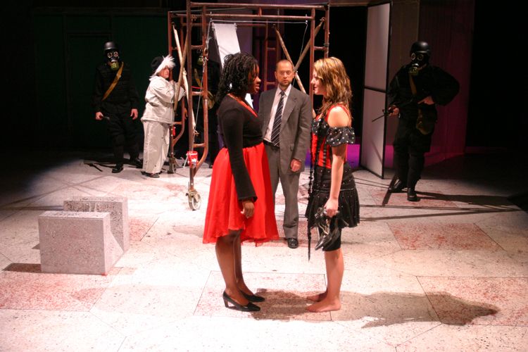 Jessica Kight, Pete Cross and Nikki Soldner in Antigone