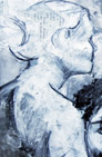 """Blue Woman"" art drawing, left profile of woman's head, neck and shoulder"
