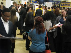 Students participating in the COBI Spring Job Fair 2016
