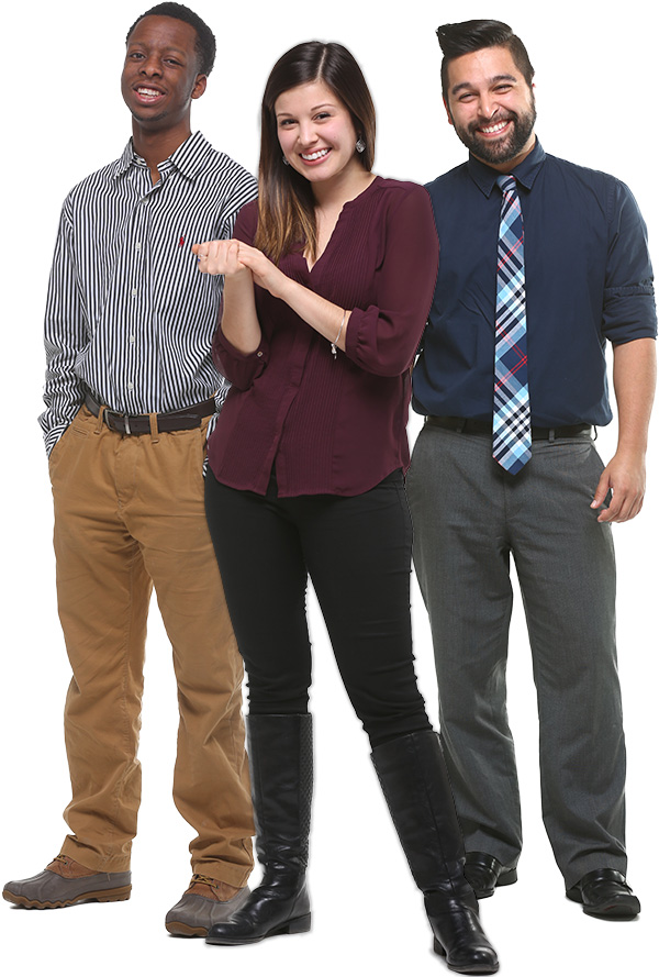 Photo of three UT students