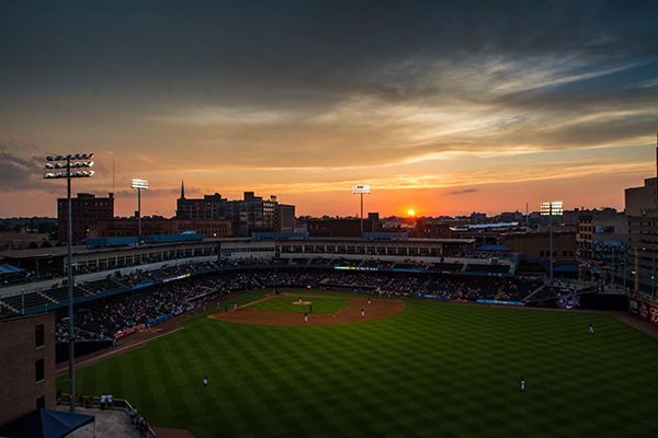 Toledo Mud Hens stadium at dusk