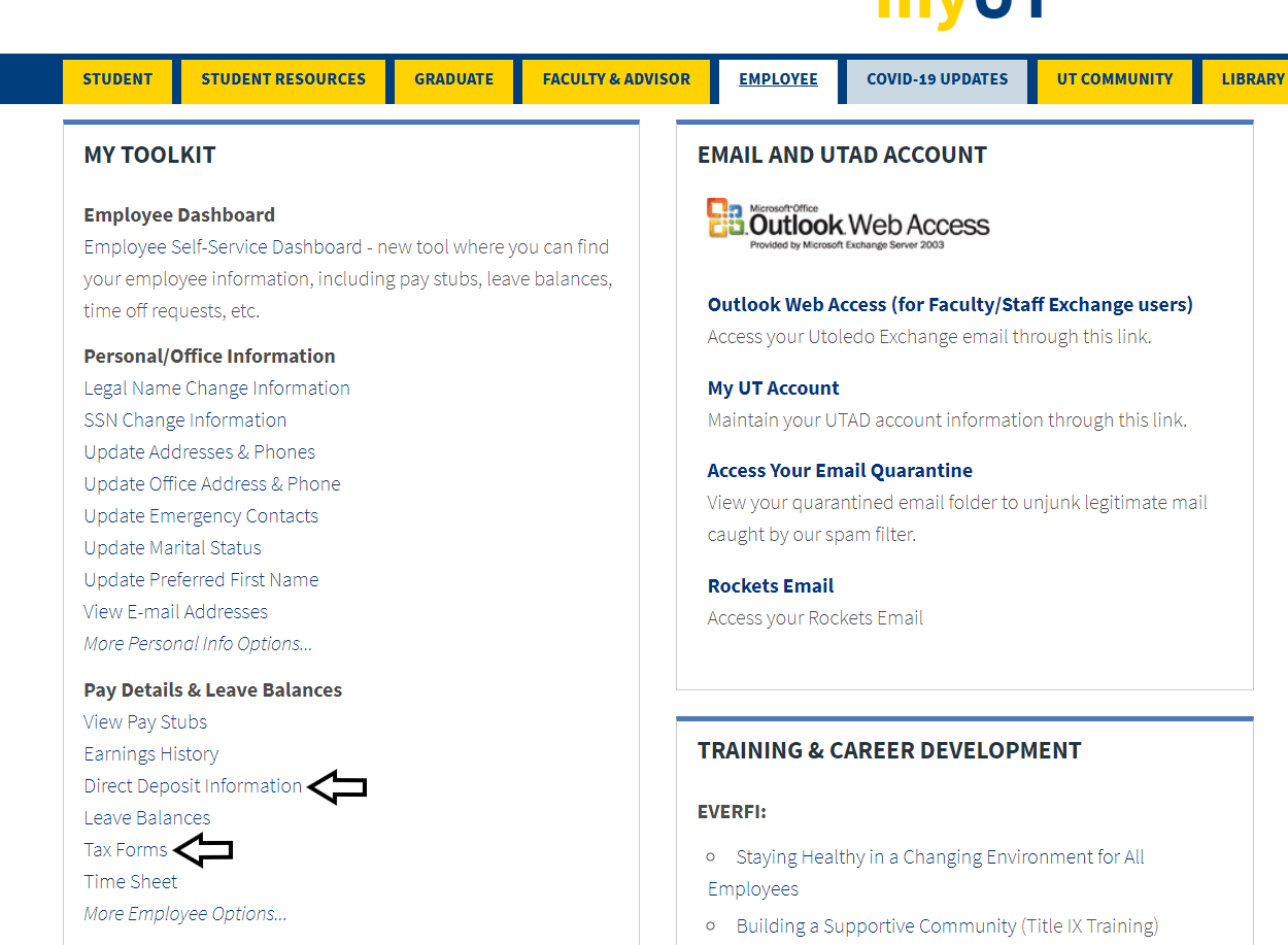 screenshot of employee tab with arrows pointing to the direct deposit link and the tax forms link.
