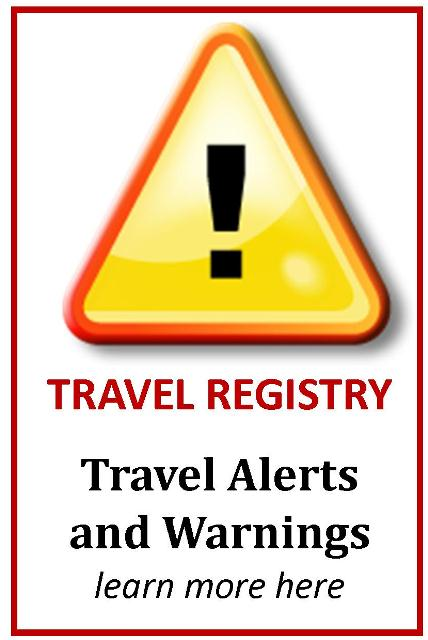 Travel registry alerts and warnings logo