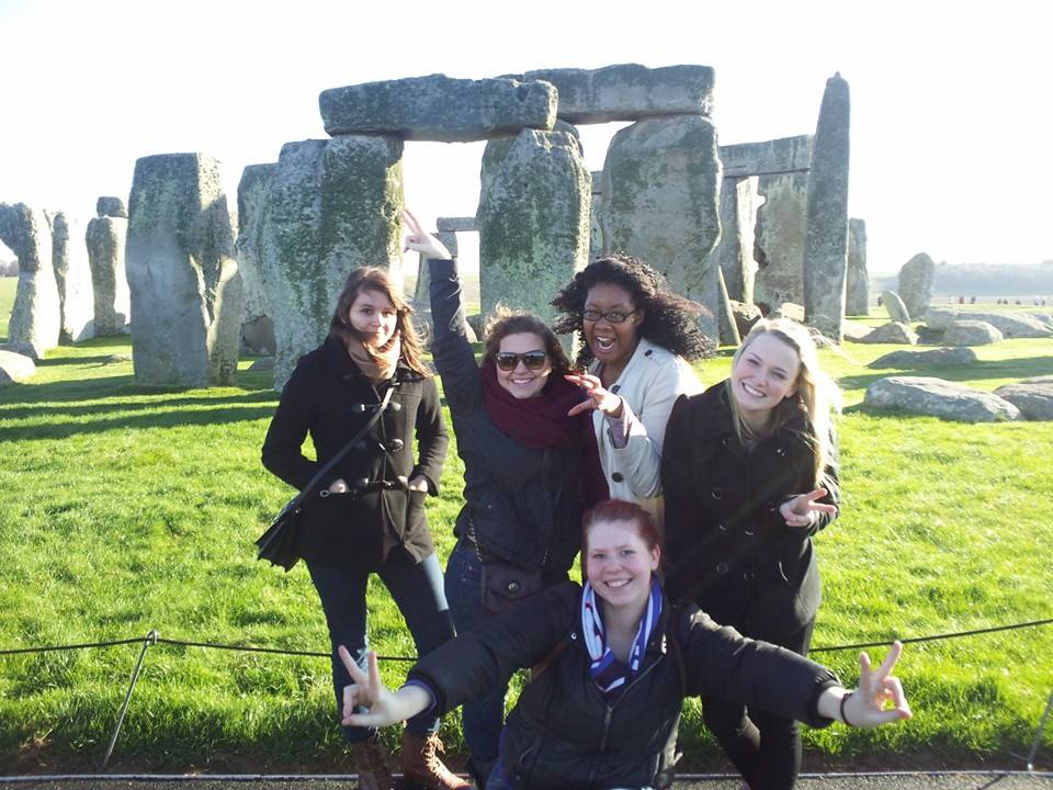 A group of students in front of Stonehenge.