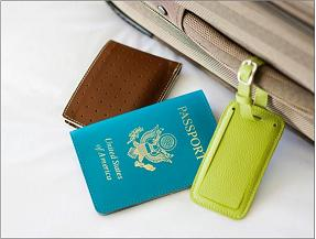 suitcase with lugage tage and passport