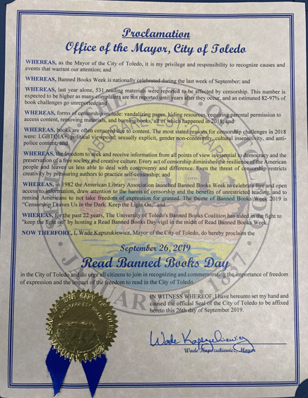 "Proclamation of ""Read Banned Books Day,"" from the mayor's deputy chief of staff, Abby Arnold"