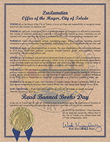Toledo Mayor's Proclamation of Read Banned Books Day - October 1, 2020