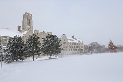 The University of Toledo scenic winter shot on the mall
