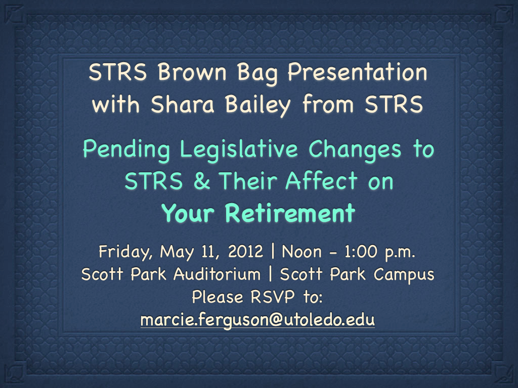 STRS Brown Bag Presentation Announcement