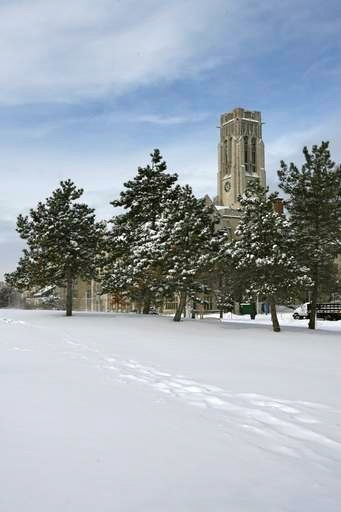 University Tower With Snow