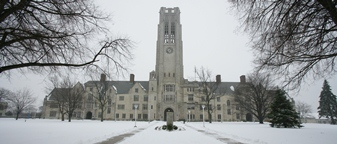 University Hall in the snow