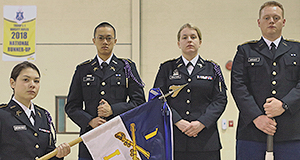 Pershing Rifles Platoon Leaders with Rocket Battalion Pershing Rifles Guidon