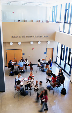 Aerial photo of students in the Savage Atrium