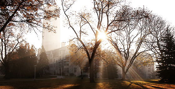 University Hall featuring Bancroft Street view of Main Campus at early morning. We are thankful for ...