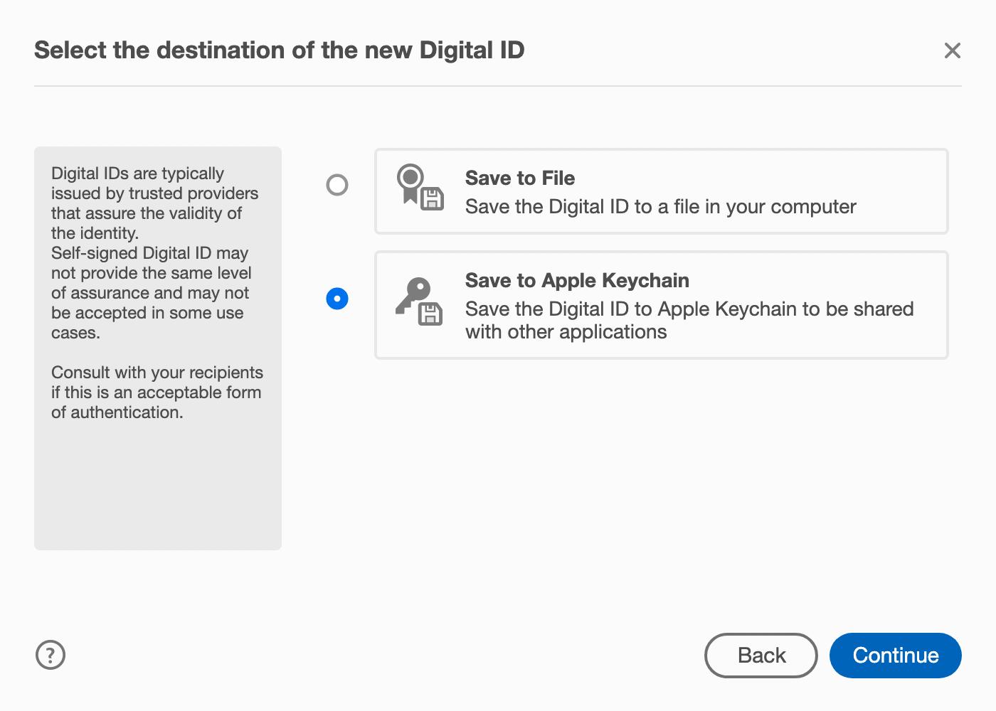 Digital ID destination