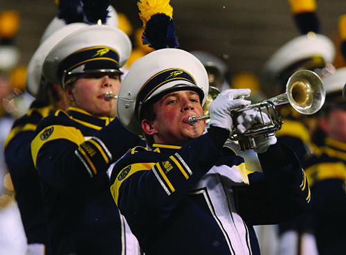 The University of Toledo marching band, trumpet player