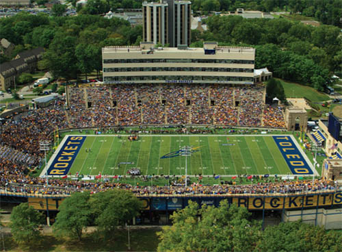 The University of Toledo Glass Bowl Stadium during a football game
