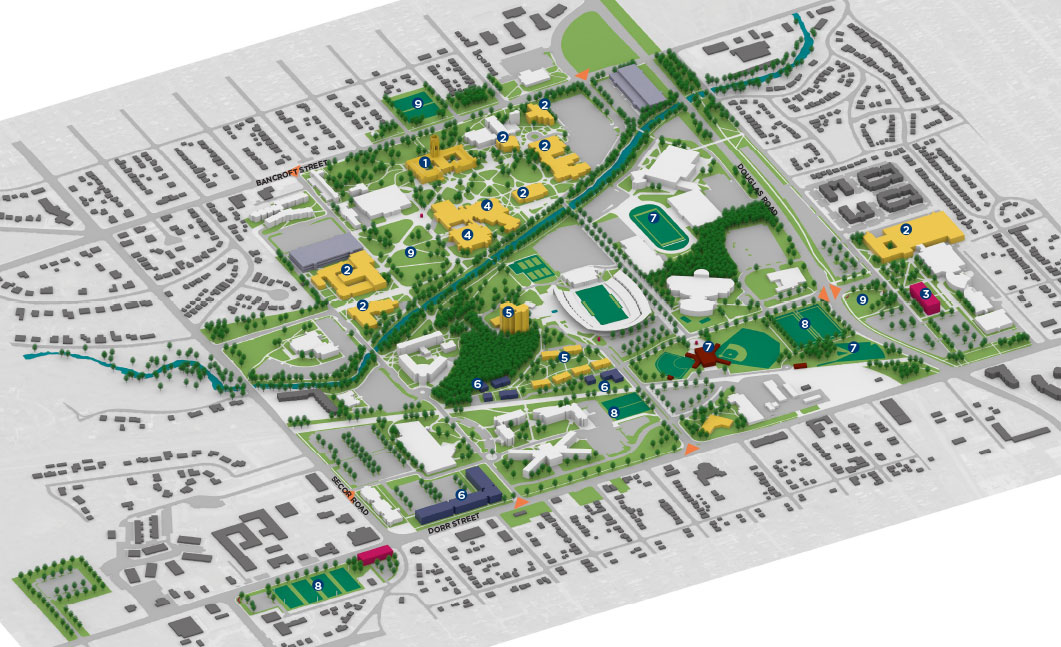 3D Rendering of the Master Plan Major Initiatives Campus Map