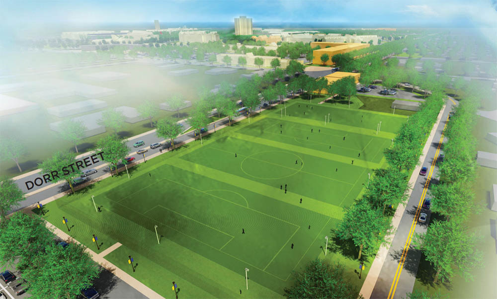 A view of a new dedicated recreational complex at Dorr Street and Secor Road, looking back toward Parks Tower.