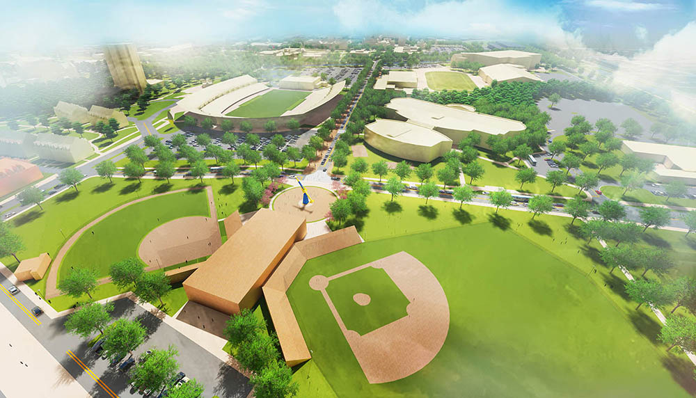 A view of a new baseball and softball complex, at the south end of a consolidated athletics complex.