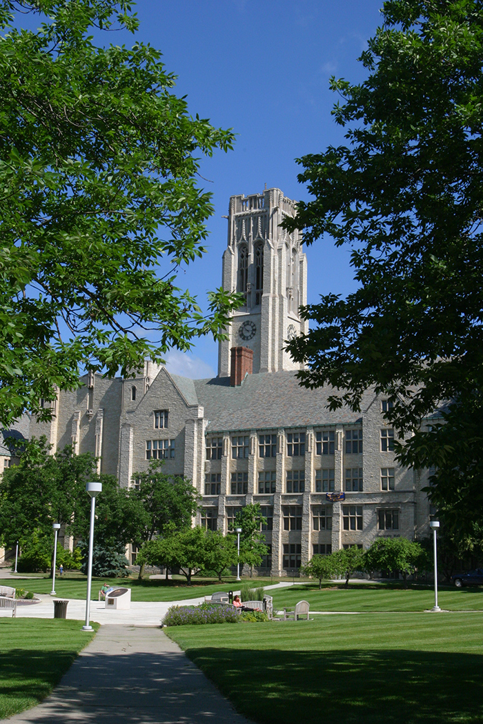 Photo of University Hall and the mall in summertime