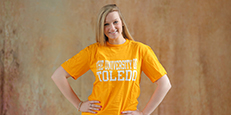 Female student with UT tee shirt