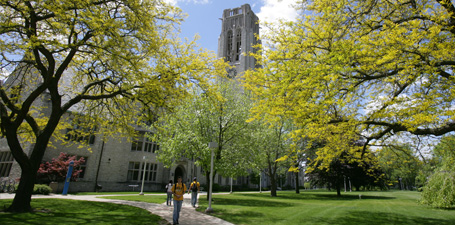 University Hall in the spring